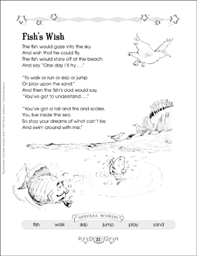 fish 39 s wish building reading skills with poetry printable lesson plans ideas and skills sheets. Black Bedroom Furniture Sets. Home Design Ideas