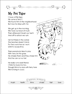 my pet tiger building reading skills with poetry printable lesson plans ideas and skills sheets. Black Bedroom Furniture Sets. Home Design Ideas