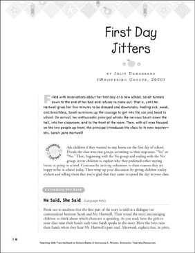 First Day Jitters: Teaching With Favorite Books - Printable Worksheet