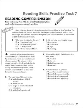 grade 7 comprehension tests