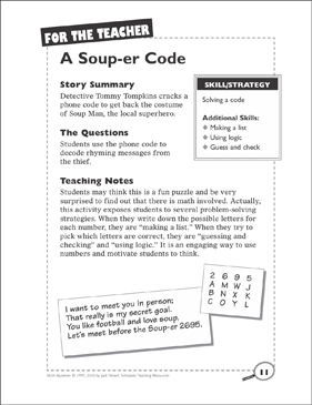 image relating to Quick Solve Mysteries Printable named Math Solution: A Soup-er Code (Resolving a Code) Printable