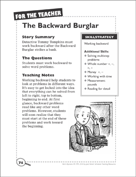 picture about Quick Solve Mysteries Printable named Math Solution: The Backward Burglar (Doing the job Backward