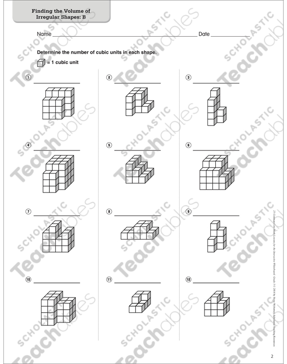 Finding The Volume Of Irregular Shapes Math Lesson Printable
