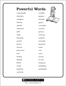 Powerful Words   Printable Research and Study Tools