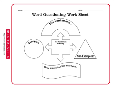 Word Questioning Vocabulary - Printable Worksheet