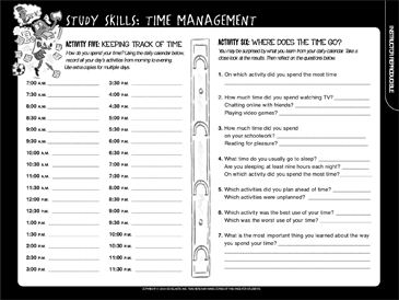 study skills time management printable student organizers logs and graphic organizers. Black Bedroom Furniture Sets. Home Design Ideas