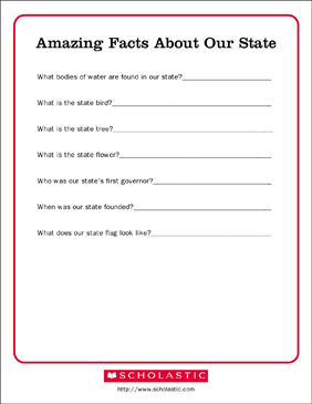 Amazing Facts About Our State - Printable Worksheet