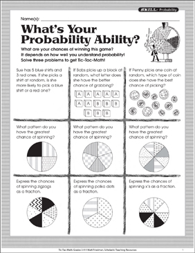 What's Your Probability Ability? Tic-Tac-Math | Printable Games ...
