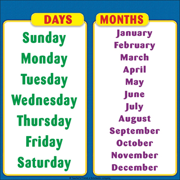 Image result for days of the week of the year