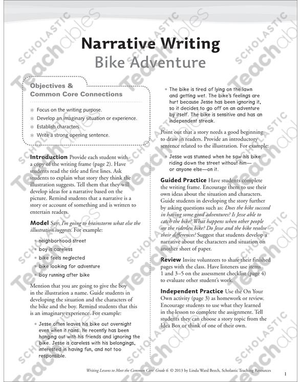 Bike Adventure: Grade 6 Narrative Writing Lesson | Printable