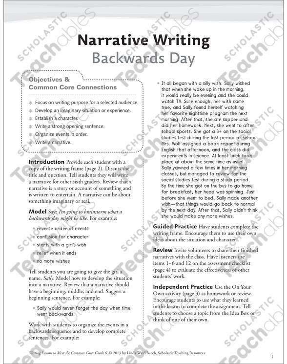 Backwards Day: Grade 6 Narrative Writing Lesson   Printable ...
