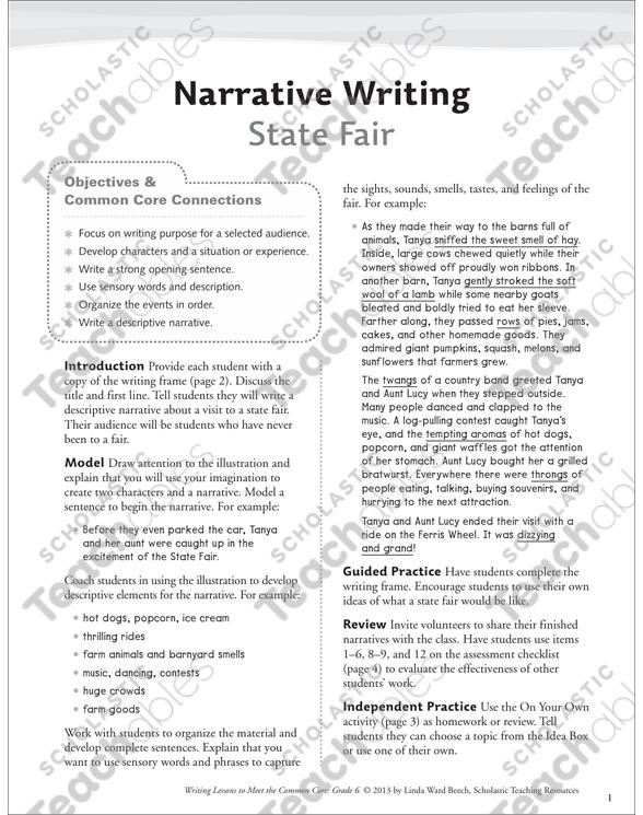 State Fair: Grade 6 Narrative Writing Lesson | Printable Assessment