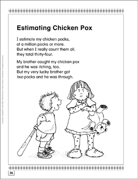 estimating chicken pox math poem activities printable lesson plans ideas and texts. Black Bedroom Furniture Sets. Home Design Ideas