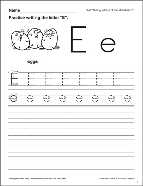 letter e letter formation practice kindergarten basic skills printable skills sheets. Black Bedroom Furniture Sets. Home Design Ideas