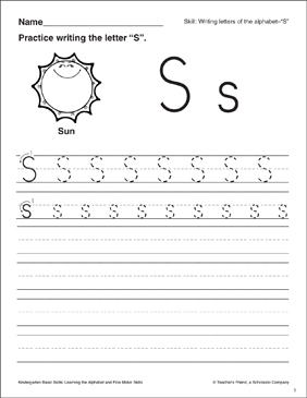letter s letter formation practice kindergarten basic skills printable skills sheets. Black Bedroom Furniture Sets. Home Design Ideas