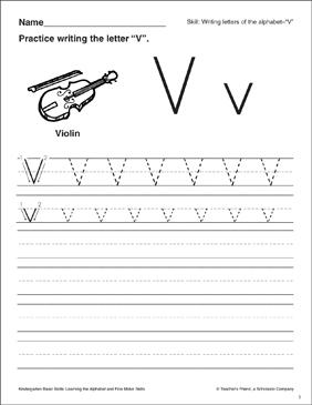 letter v letter formation practice kindergarten basic. Black Bedroom Furniture Sets. Home Design Ideas