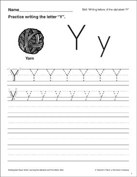 letter y letter formation practice kindergarten basic skills printable skills sheets. Black Bedroom Furniture Sets. Home Design Ideas