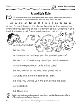 Al And Eds >> Al And Ed S Rule Another Short Vowel Rule Printable