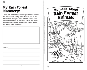 my book of rain forest animals nonfiction read write booklet printable mini books. Black Bedroom Furniture Sets. Home Design Ideas