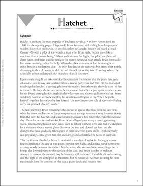 graphic relating to Hatchet Worksheets Printable named Hatchet: Coaching With Gary Paulsen Novels Printable