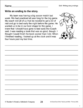 writing story endings reading writing skills printable skills sheets. Black Bedroom Furniture Sets. Home Design Ideas