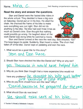 Short Story with Comprehension Questions (Reading Skills ...