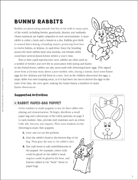 Bunny Rabbits: April Ideas and Activities - Printable Worksheet