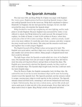 the spanish armada reading homework printable texts and. Black Bedroom Furniture Sets. Home Design Ideas