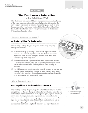 A Caterpillar's Calendar and Caterpillar's School Day Snack (After-Reading Activities) - Printable Worksheet
