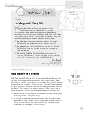 Ladybug Math (Story Mat) and One Honey of a Treat! (Snack): After-Reading Activities - Printable Worksheet