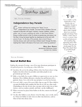 Independence Day Parade and Secret Ballot Box - Printable Worksheet