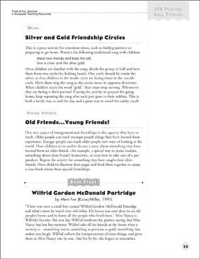 Silver and Gold Friendship Circles; and Old Friends - Young Friends (Friendship) - Printable Worksheet
