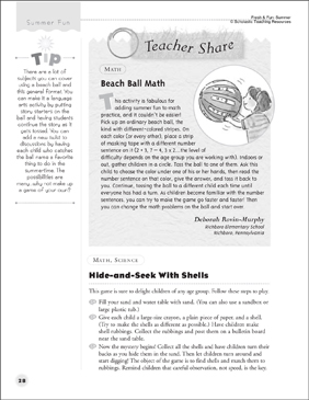 Beach Ball Math and Science Hide-and-Seek - Printable Worksheet