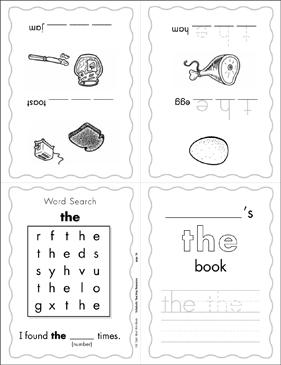 "The Sight Word ""the"" (Level 1) Mini-Book - Printable Worksheet"