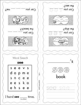"The Sight Word ""see"" (Level 1) - Printable Worksheet"
