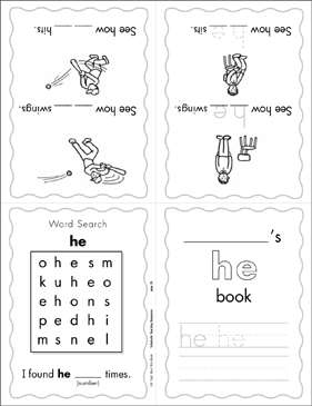 "The Sight Word ""he"" (Level 1) Mini-Book - Printable Worksheet"