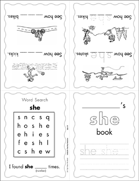 image relating to Printable Sight Word Books called The Sight Phrase \u201cshe\u201d (Position 1) Printable Mini-Textbooks