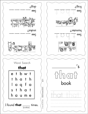 "The Sight Word ""that"" (Level 1) - Printable Worksheet"