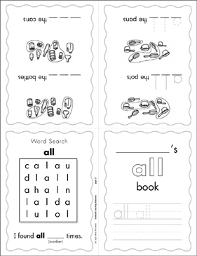 "The Sight Word ""all"" (Level 1) - Printable Worksheet"