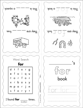 photograph relating to Sight Word Book Printable referred to as The Sight Term \u201cfor\u201d (Place 2) Printable Mini-Publications