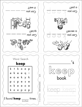 "The Sight Word ""keep"" (Level 2) Mini-Book - Printable Worksheet"