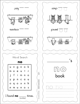 picture about Sight Word Printable Books named The Sight Phrase \u201cno\u201d (Position 2) Printable Mini-Publications