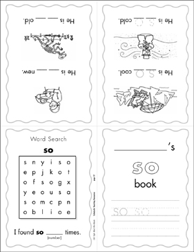 "The Sight Word ""so"" (Level 2) - Printable Worksheet"