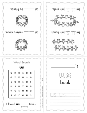 "The Sight Word ""us"" (Level 2) Mini-Book - Printable Worksheet"