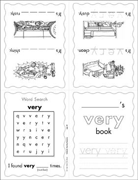 "The Sight Word ""very"" (Level 2) Mini-Book - Printable Worksheet"