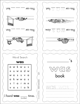 "The Sight Word ""was"" (Level 2) - Printable Worksheet"