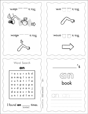 "The Sight Word ""an"" (Level 3) Mini-Book - Printable Worksheet"