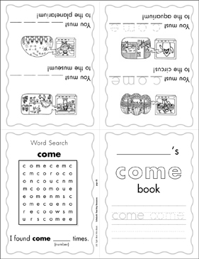 "The Sight Word ""come"" (Level 3) - Printable Worksheet"