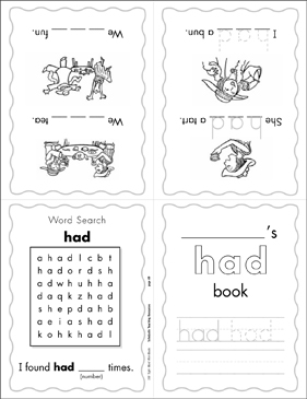 "The Sight Word ""had"" (Level 3) Mini-Book - Printable Worksheet"