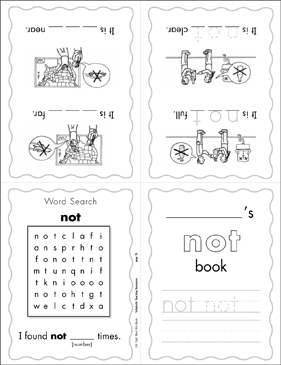 "The Sight Word ""not"" (Level 3) - Printable Worksheet"
